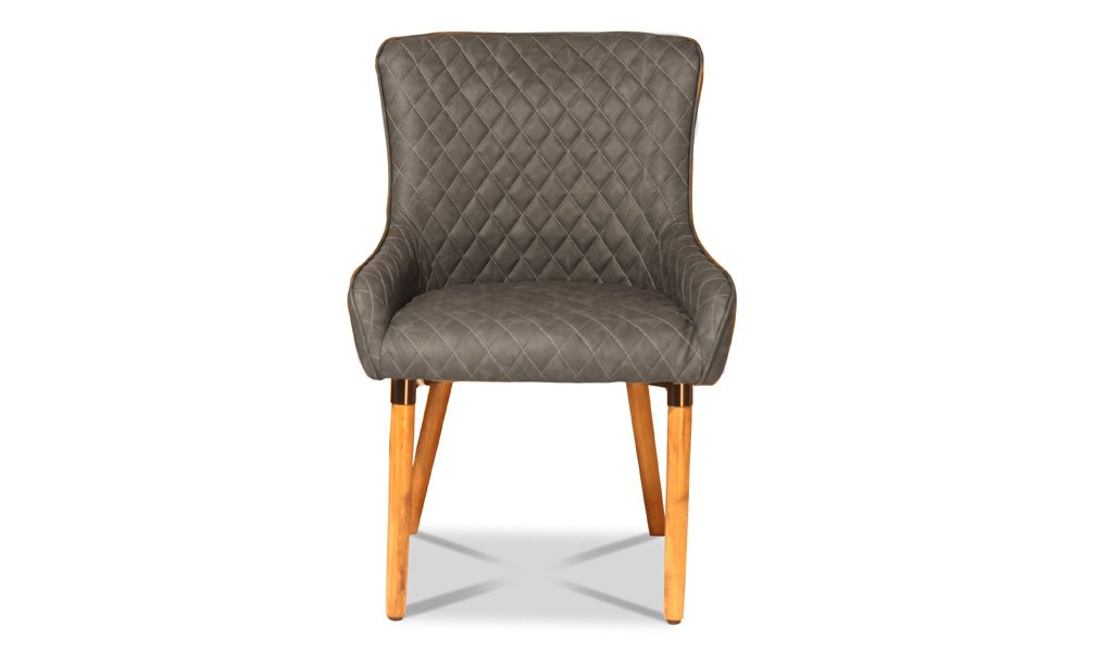 cafeteria chair in gray fabric with wooden legs