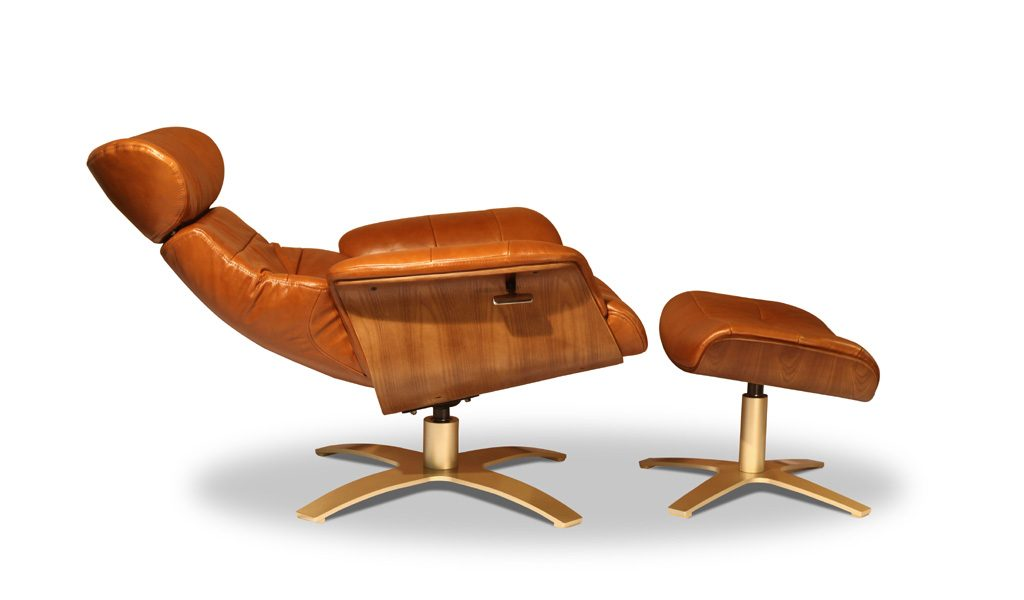 tan leather recliner chair with foot stool