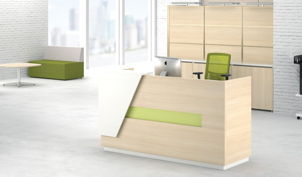 modern reception area with small reception desk