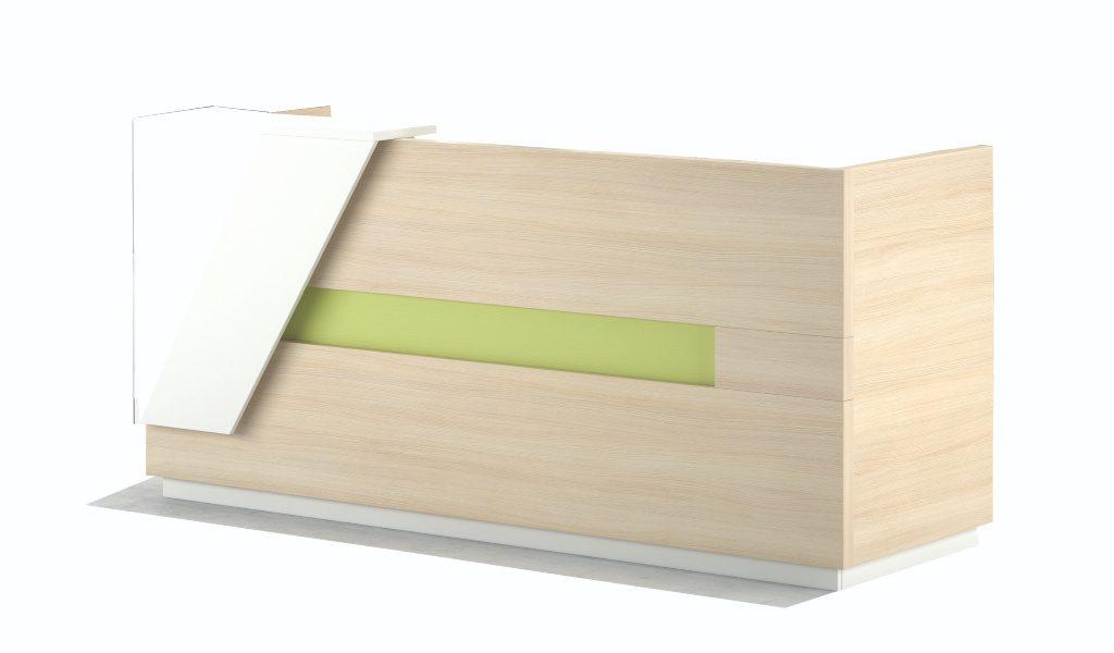 reception desk in light oak wood finish