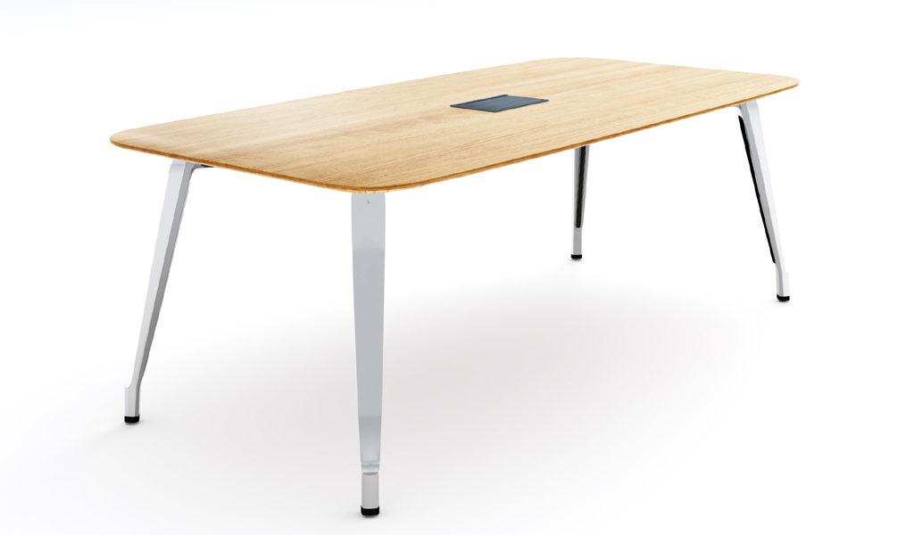 modern meeting table in light color wood top & steel legs
