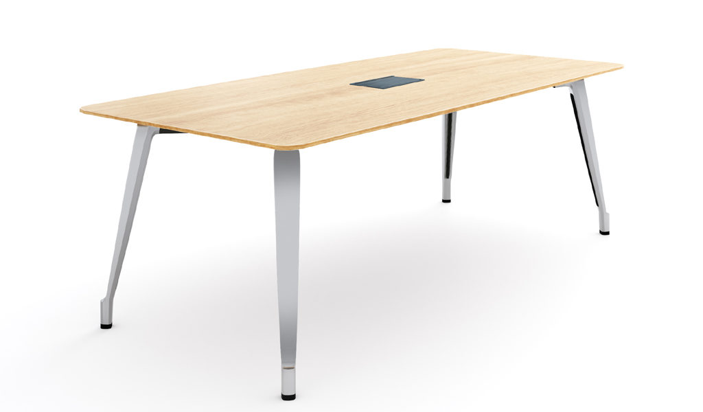 modern meeting table in light color wood top & steel legs
