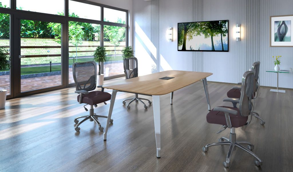 modern office with large window and meeting table