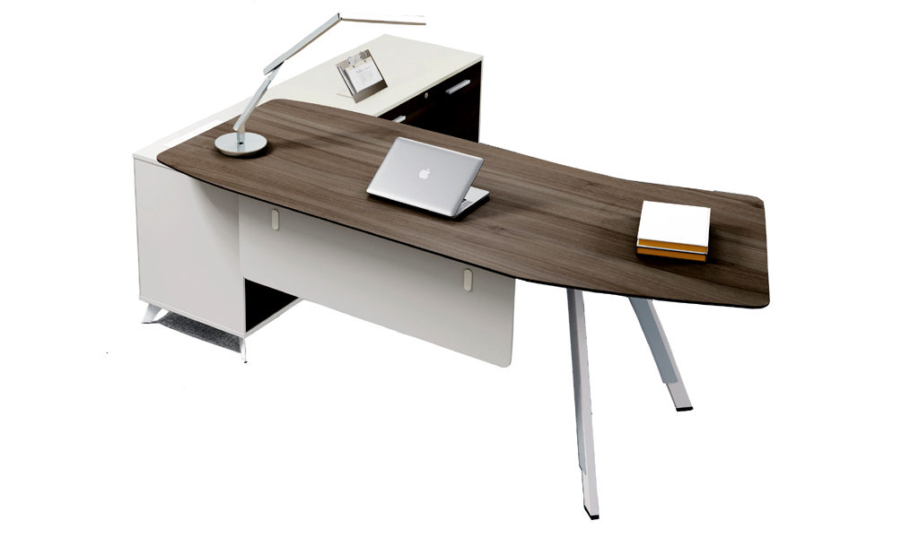desk with curved ergonomic top