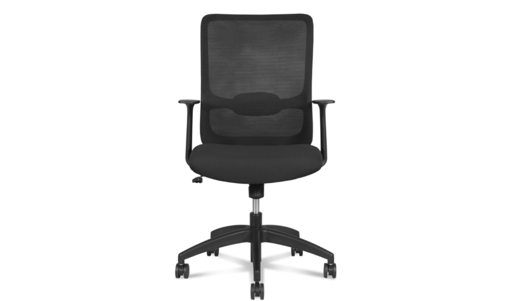swivel office chair in black mesh