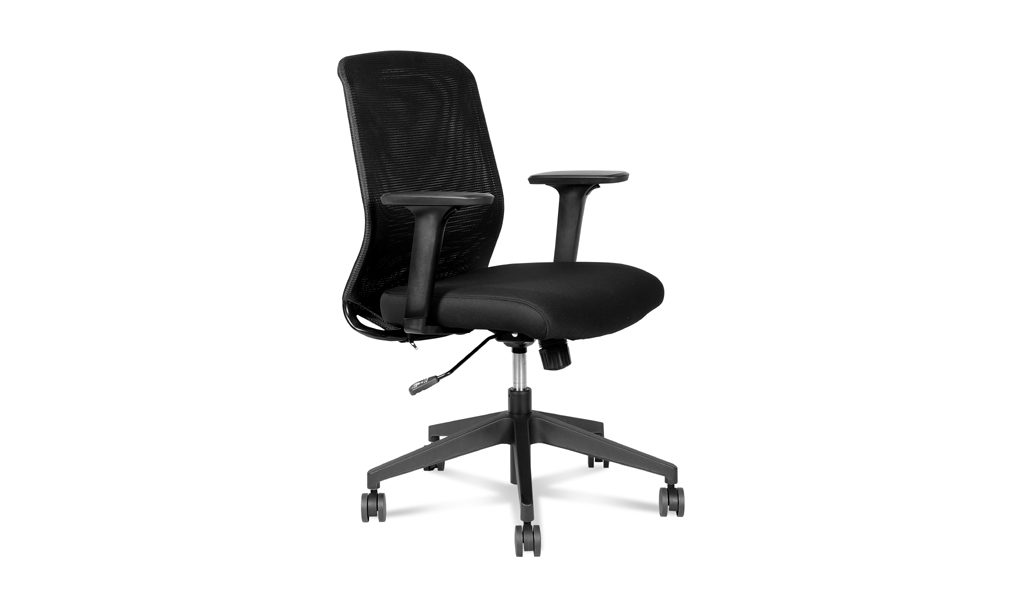 black office chair with curved netted back