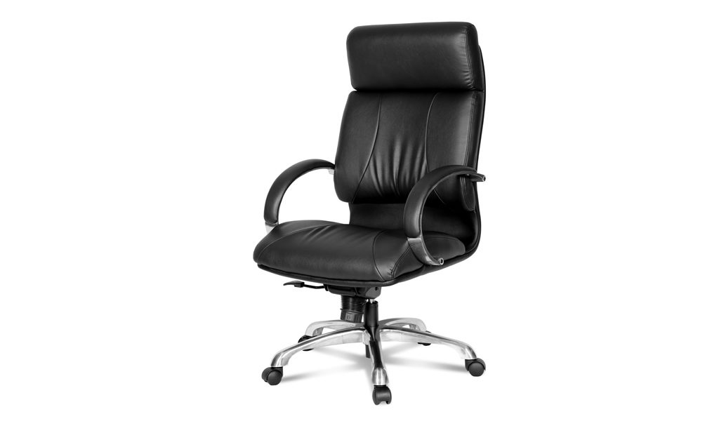 luxurious office chair in black leather