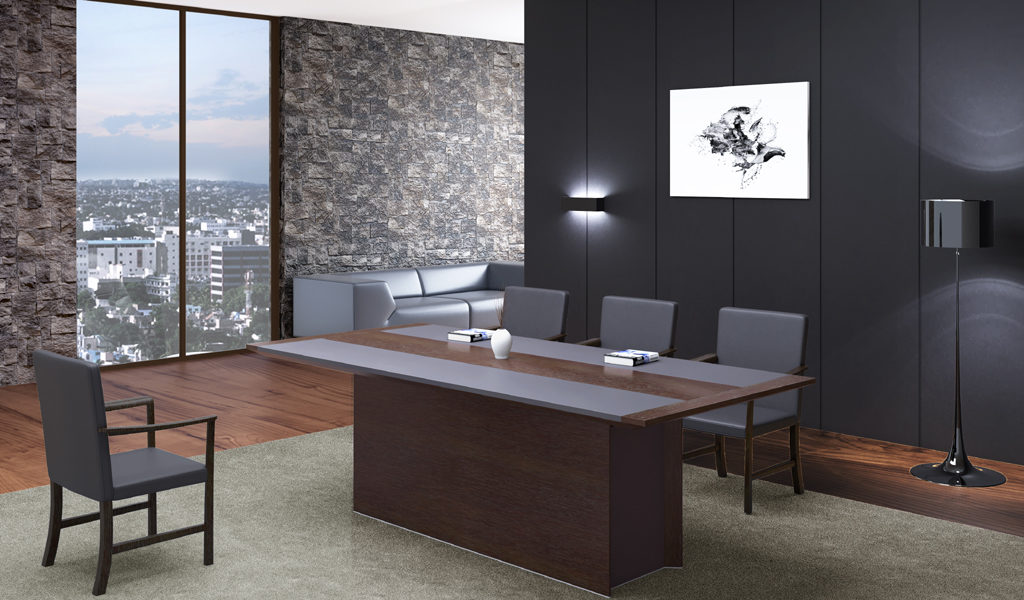plush office with wooden meeting table and chairs with large window