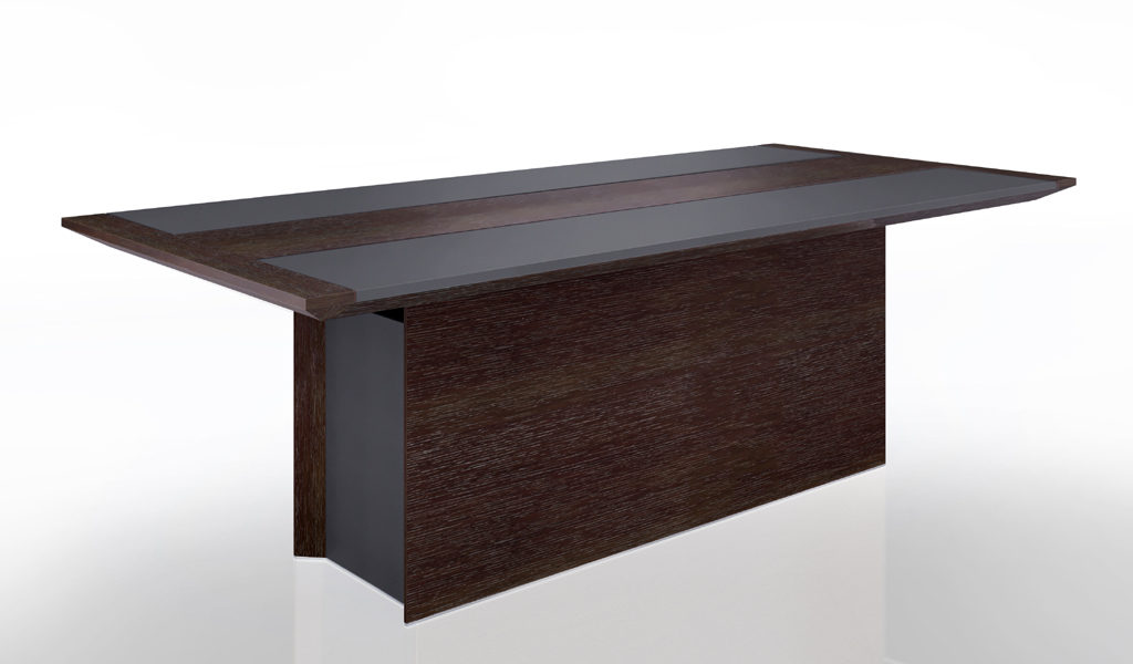 meeting table in dark wood and leather