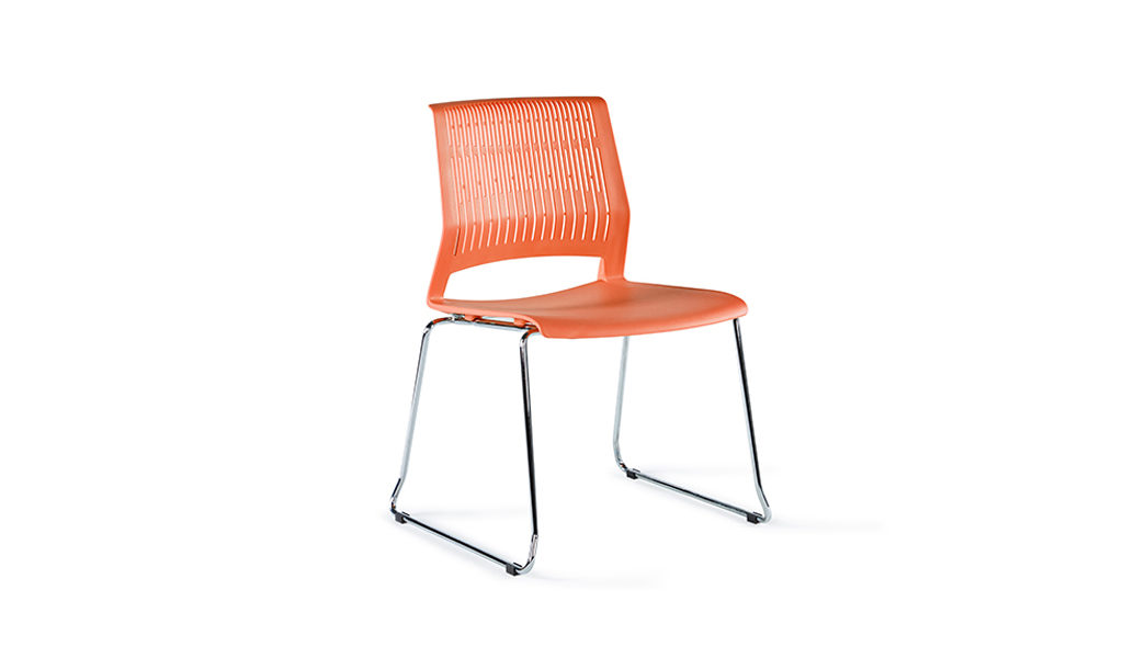 orange color plastic chair with chrome legs