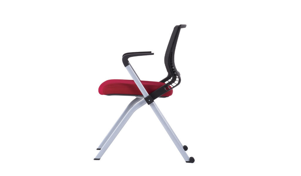 foldable chair with red fabric seat
