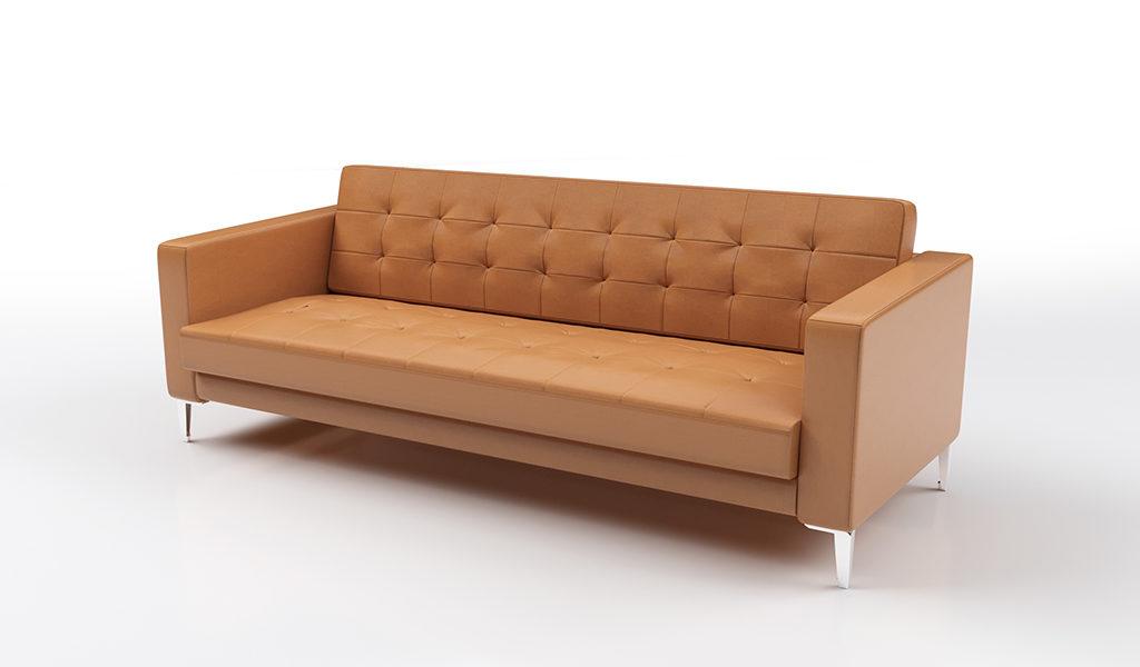 three seater office sofa in tan leather