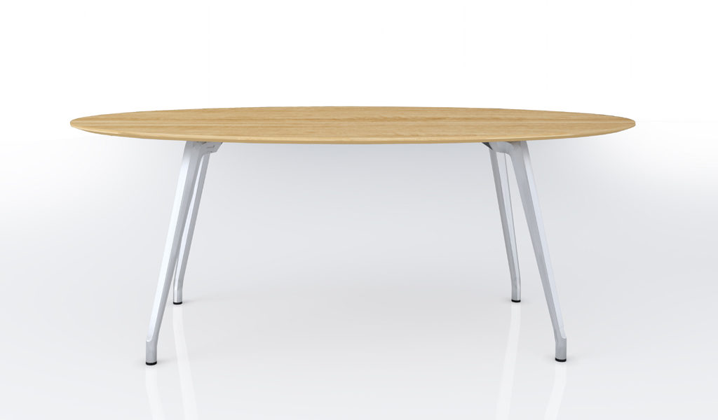 small meeting table with oval shape table top