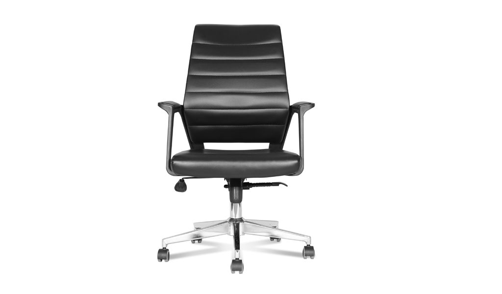 visitor chair in artificial black leather
