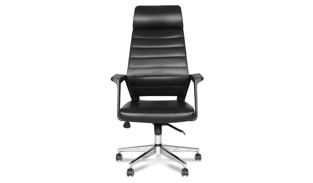 high back office chair in black artificial leather
