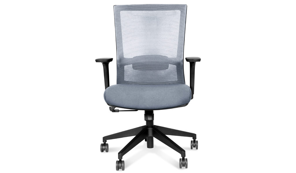 office chair in gray mesh and fabric