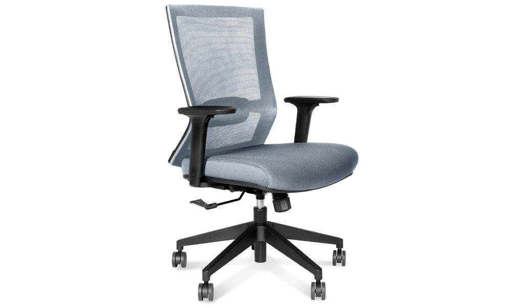 gray fabric office chair with adjustable lumbar support