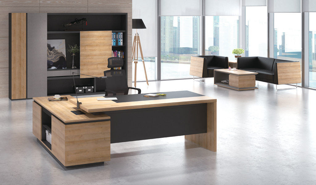 large office cabin with office desk and sofa
