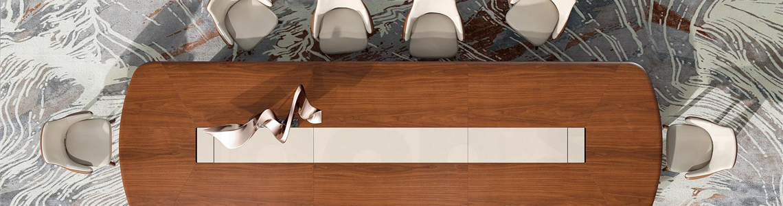 Vibrant conference tables to suit any need - Boss's cabin.