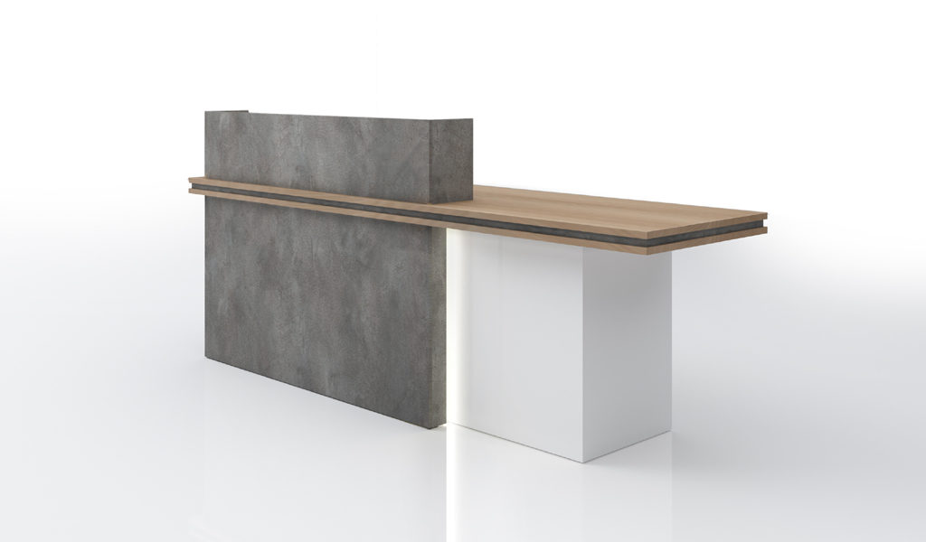 reception table in gray and white color