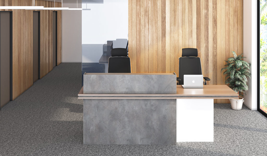 modern office with reception table and gray carpet