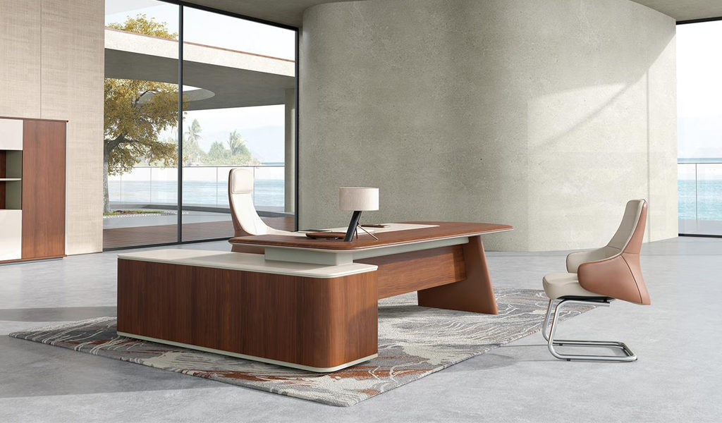 luxurious and modern office cabin with large executive desk