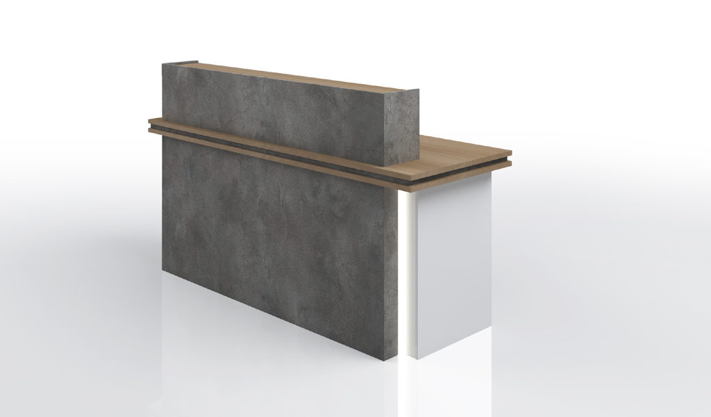 small office reception table in gray and white color