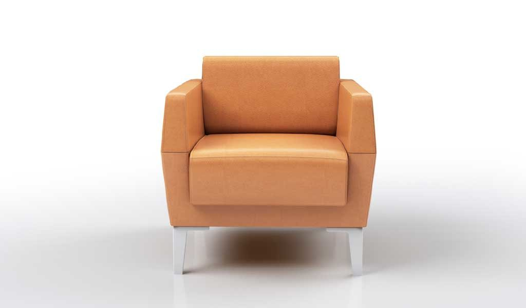 one seater leather sofa in tan color
