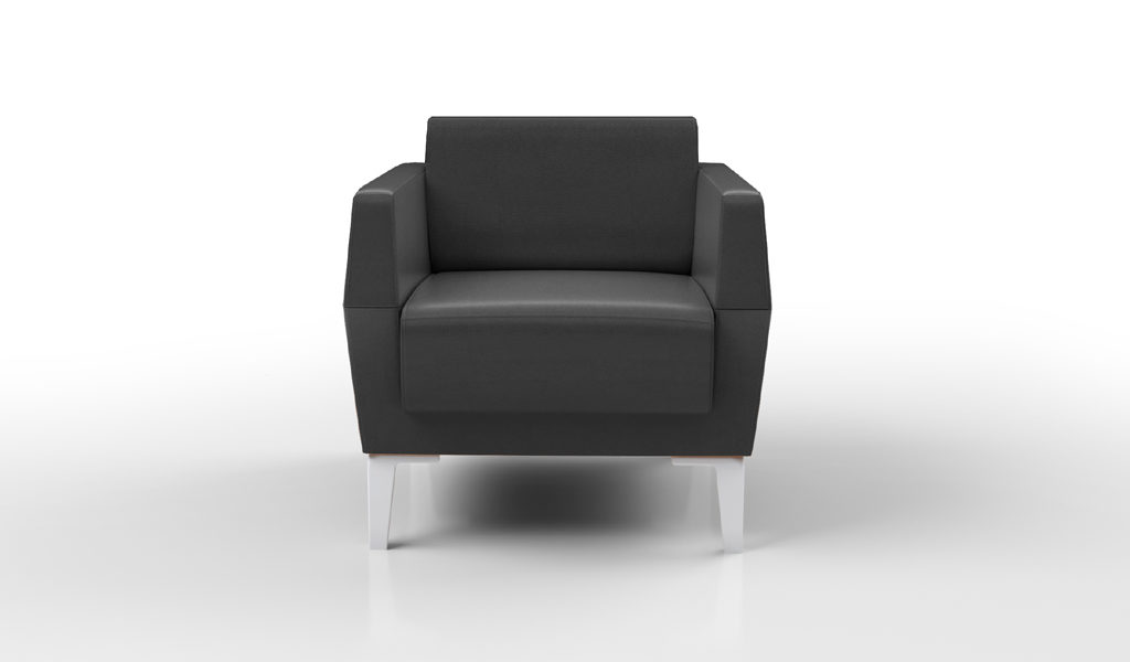 one seater office sofa in black leather