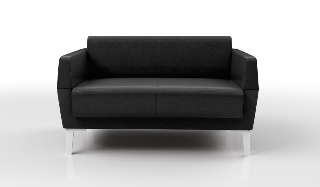 2 seater sofa in black leather