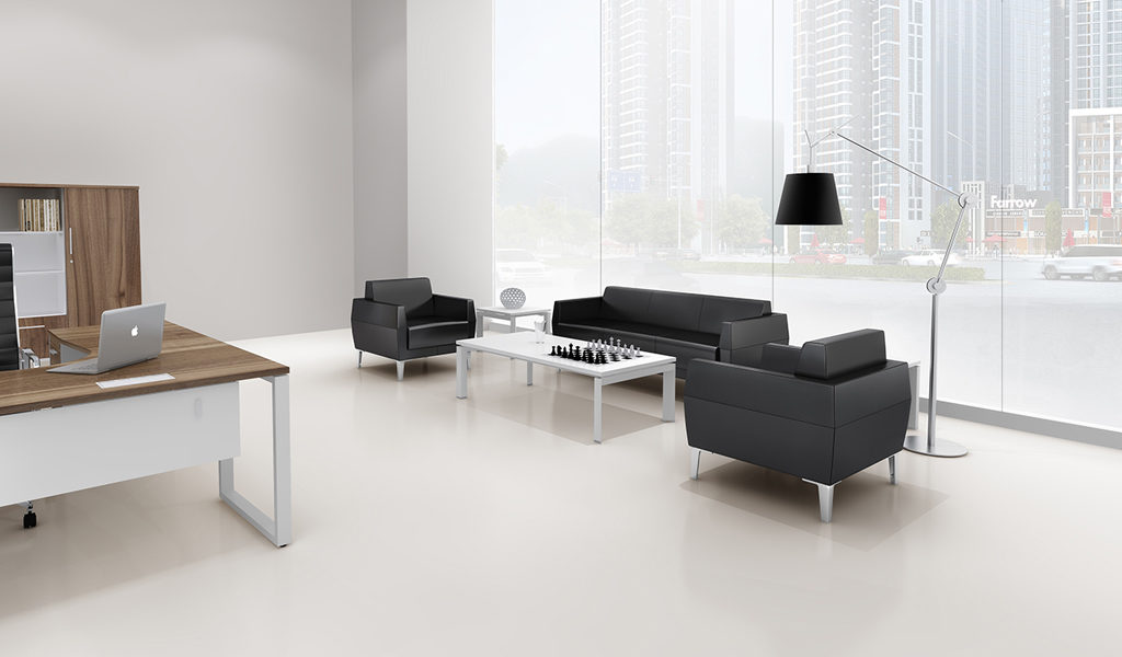 office cabin with black leather sofa set
